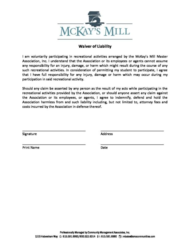 Liability Waiver  MckayS Mill Hoa  Franklin Tn